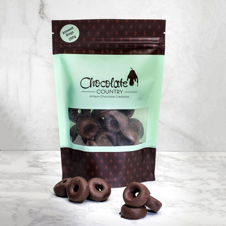 Chocolate Country Dark chocolate coated aniseed rings