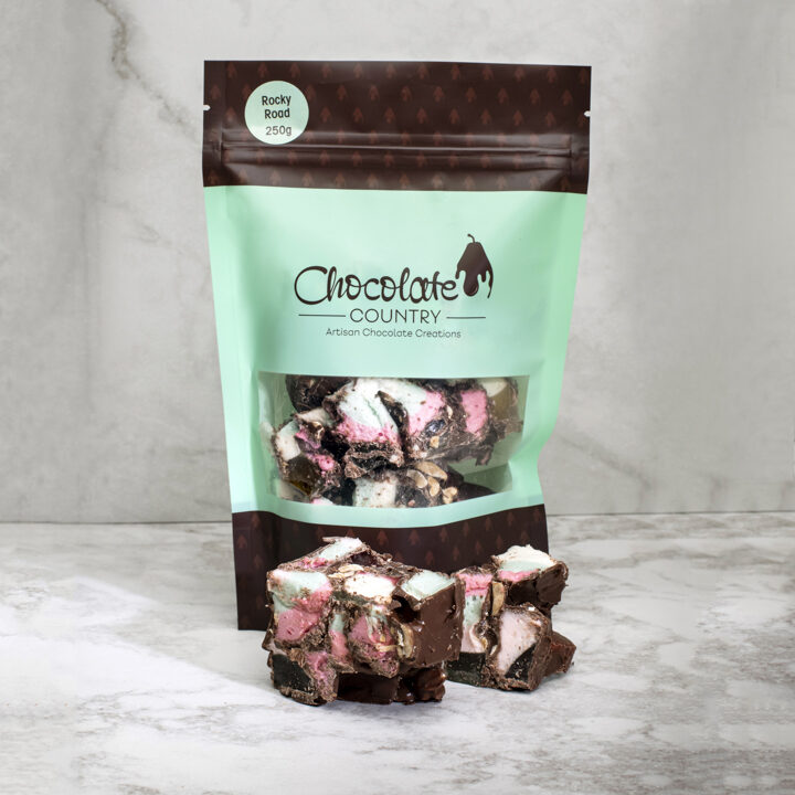 Chocolate Country 1 Carton - 12 Bags Milk chocolate coated rocky road