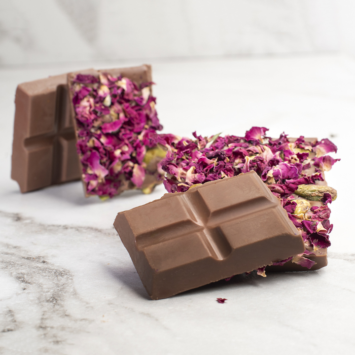 Chocolate Country 1 Carton - 12 x 100g Chocolate Bar Pistachio & Rose Milk