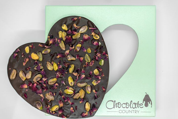 Chocolate Country Large 250 g Dark Belgian Chocolate Heart with Pistachio & Rose Petals
