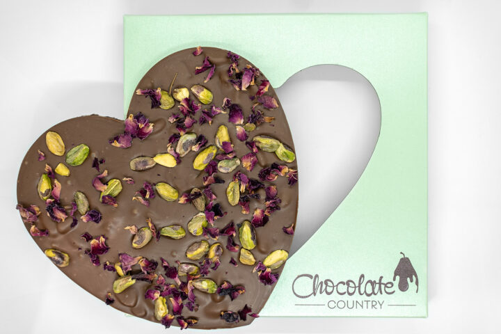 Chocolate Country Large 250 g Milk Belgian Chocolate Heart with Pistachio & Rose Petals