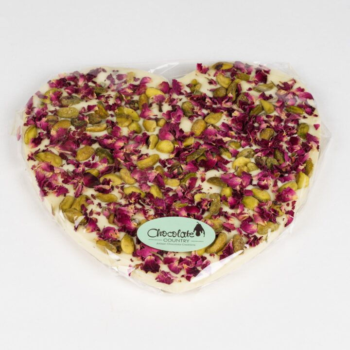 Chocolate Country Large 250 g white Chocolate Heart with pistachio & Rose Petals