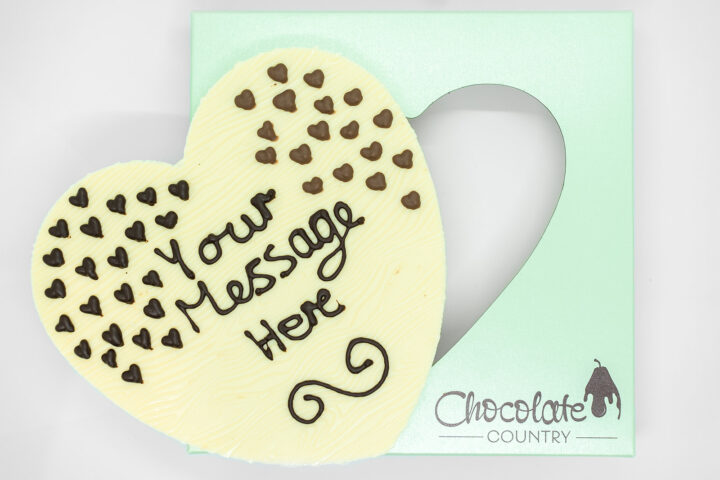 Chocolate Country Large 250 g Heart with your own Message in Lovely Gift Box.