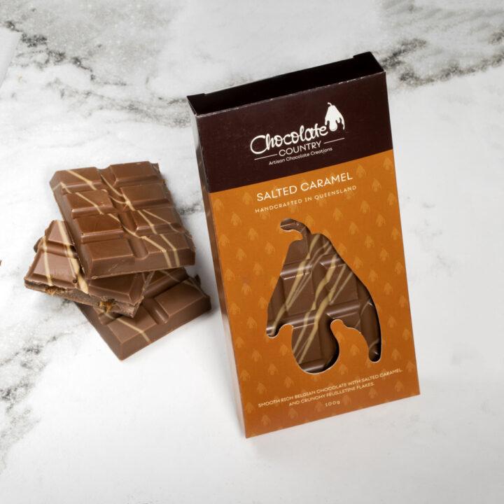 Chocolate Country 1 Carton - 12 x 100 g Bar Milk Salted Caramel